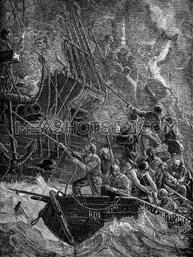 Loss of Acteon. They set fire to the ship, vintage engraved illustration. Journal des Voyages, Travel Journal, (1879-80).
