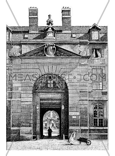 Entrance to the courtyard of the Mazarine Library at the Palace of the Institute of France in Paris, France. Vintage engraving.