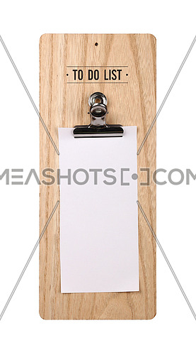 Close up one wooden holder with metal clip and blank white paper to do list note, isolated on white background