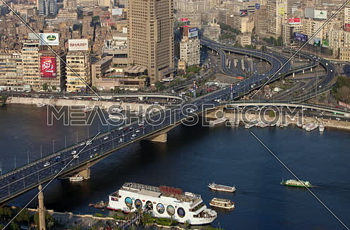 fixed shot for traffic on 6 octobre bridge in cairo at day