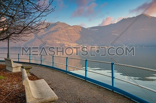 Wonderful view of Iseo lake from the city of Lovere,Bergamo,Lombardy Italy.
