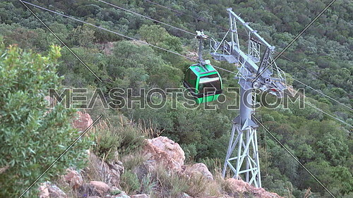 View of car moving down aerial cableway Hartbeespoort