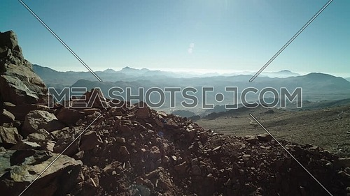 Reveal shot for Cathrine mountain from Sinai Mountain at day.