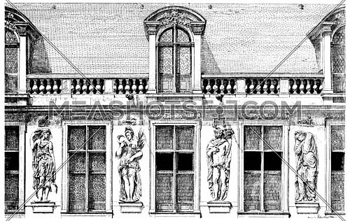 Facade of the Hotel Carnavalet, the courtyard, decorated with four seasons, vintage engraved illustration. Paris - Auguste VITU – 1890.