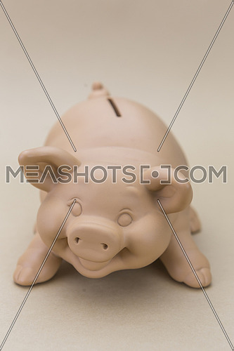 Kids Pink Piggy Bank Looking Forward, Isolated on brown Background