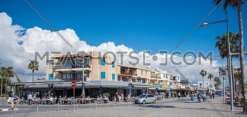 long shot for seafront restaurant in Paphos city, Cyprus