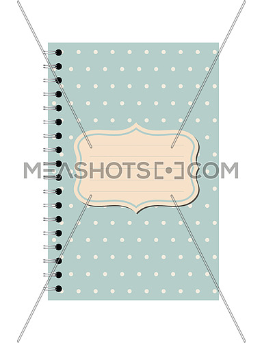 Vector illustration of teal blue dotted pattern spiral paper notebook with copy space sign