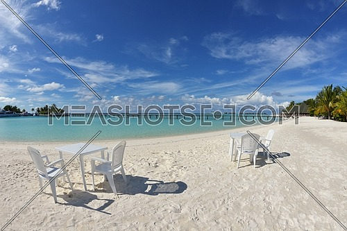 Two chairs beds in forest  on tropical beach with blue ocean in background