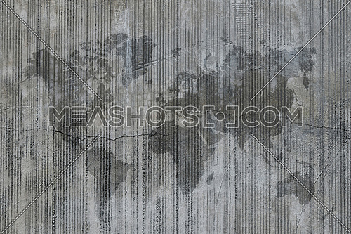 World map stain on cement concrete wall at construction site, background texture