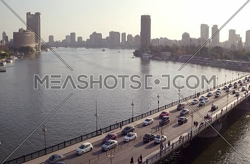 Aerial Shot for the River Nile to Kasr Al Nile Bridge  at Cairo at Day