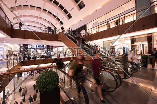 interior of the large modern shopping center
