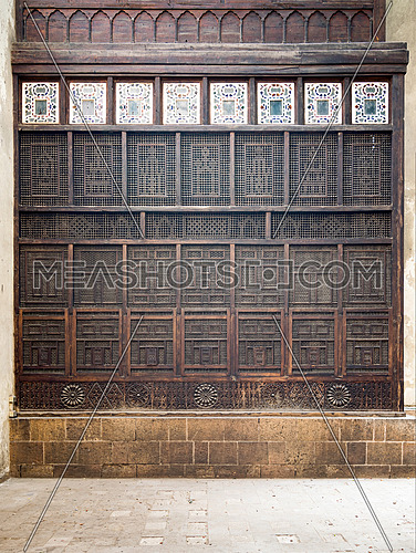 Mashrabiya facade at El Sehemy house, an old Ottoman era house in medieval Cairo, Egypt, originally built in 1648