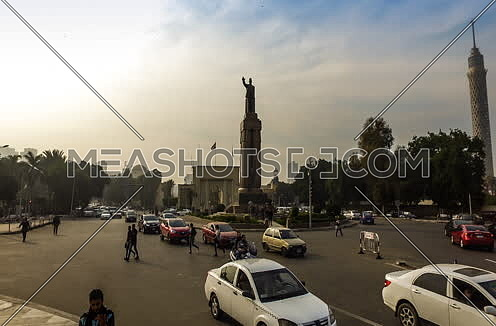 Zoom In shot for Opera Square at Cairo at Sunset