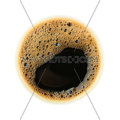 Close up one instant black coffee cup top with froth isolated on white background, top view, directly above
