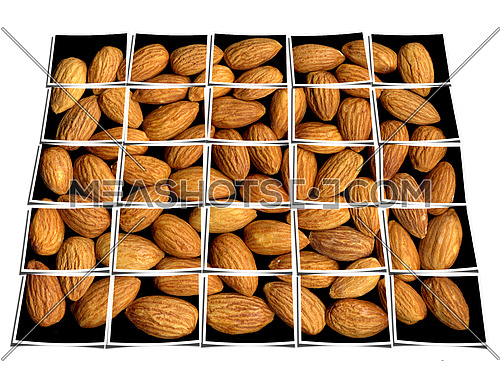 almonds on black background collage composition of multiple images over white