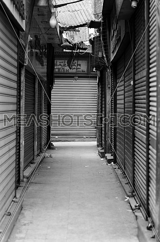 closed old stores and storage in small streets