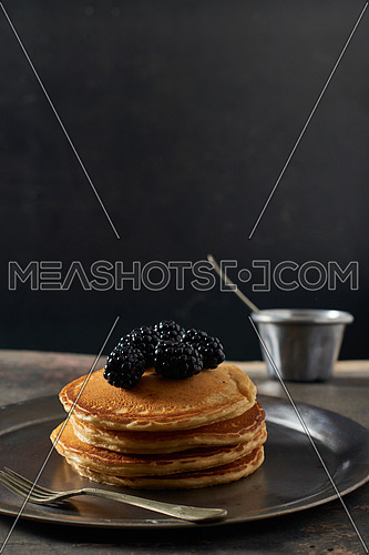 Pan Cakes with black berries and honey