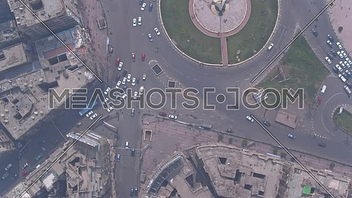 Fly Over Shot Drone for Tahrir Square in Cairo Downtown in 22 of March 2018 at Day