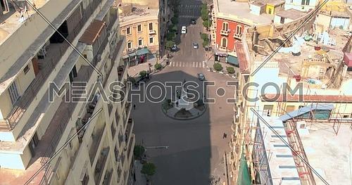 Reveal shot Drone for Mohamed Farid Square in Cairo downtown at day