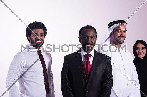 confident business partners, multi ethnic businesspeople group standing together as team isolated on white  background