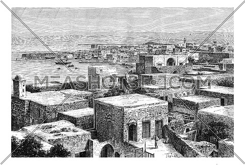 Northern Port of Tyre, in Lebanon, vintage engraved illustration. Le Tour du Monde, Travel Journal, 1881