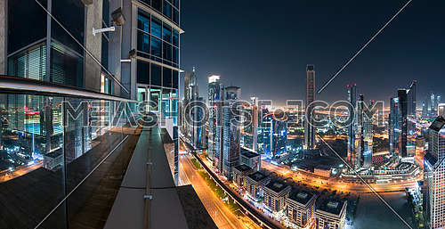 Dubai Sheikh Zayed Road Towers Panoramic View at night