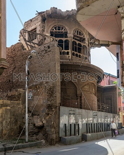 Cairo, Egypt- January 16 2016: Ruined abandoned Sabil and Kuttab Ruqayya Dudu historic building, located at Darb Al Ahmar district, Old Cairo