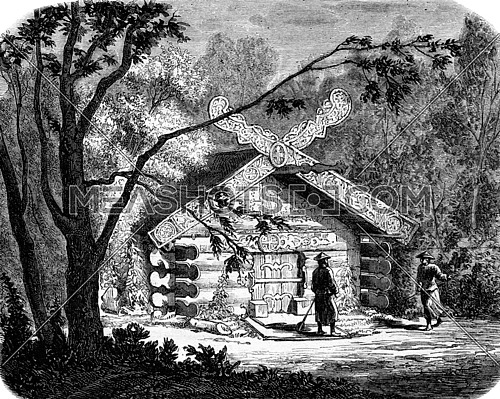 Tomb of a shaman, Mangoune, vintage engraved illustration. Magasin Pittoresque 1873.