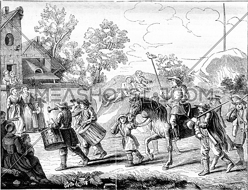 Old customs in France. Back the winner in Game Papaeguay, vintage engraved illustration. Magasin Pittoresque 1842.
