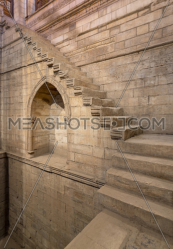 Stone staircase surrounding the walls of the deep well of Nilometer, River Nile, Rhoda Island, Cairo, Egypt