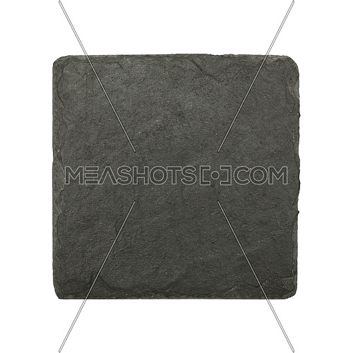 Close up of square shape small black slate board isolated on white background
