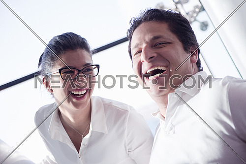 portrait of happy couple  at conference room