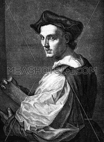 A portrait by Andrea del Sarto, at the National Gallery in London, vintage engraved illustration. Magasin Pittoresque (1882).