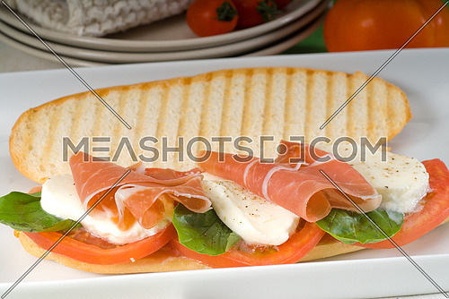 panini sandwich with fresh caprese and parma ham