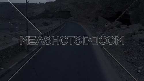 Reveal shot showing Al Mokattam Mountain Road empty - 19th April 2019 - by early morning