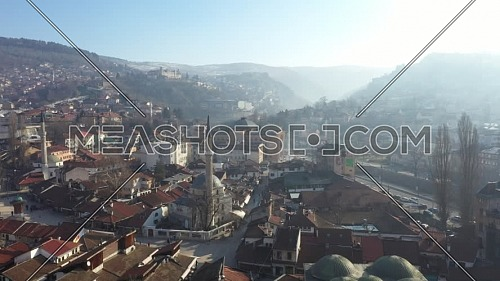 Aerial shot of Old part of the city of Sarajevo, Bosnia and Herzegovina at day.