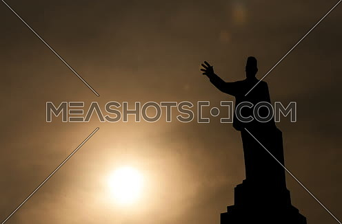 Zoom In Sillhout Shot for Saad Zaghloul Statue at Cairo from Day to Sunset