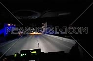 Ambulance emergency run from inside, a driver's point of view