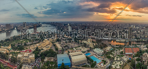 Panorama shot for cairo From the highest point in the Tower of Cairo, a spectacular view of the sunset of Cairo