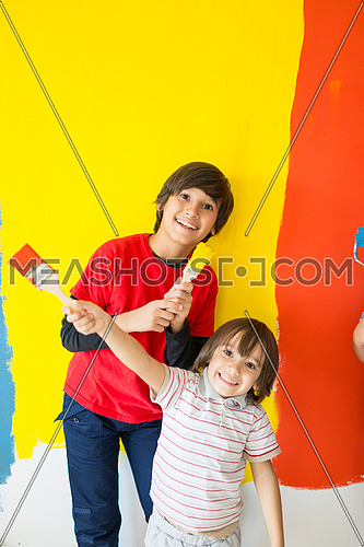 Happy kids playing with colors