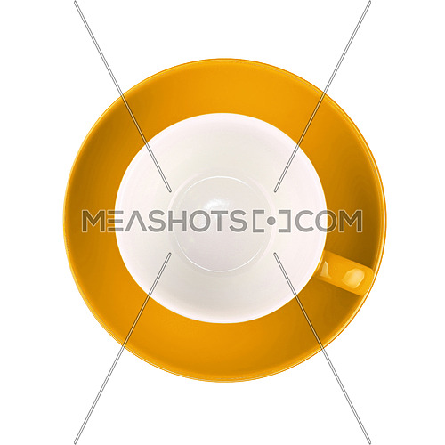One yellow empty coffee or tea cup with saucer isolated on white background, elevated top view, directly above