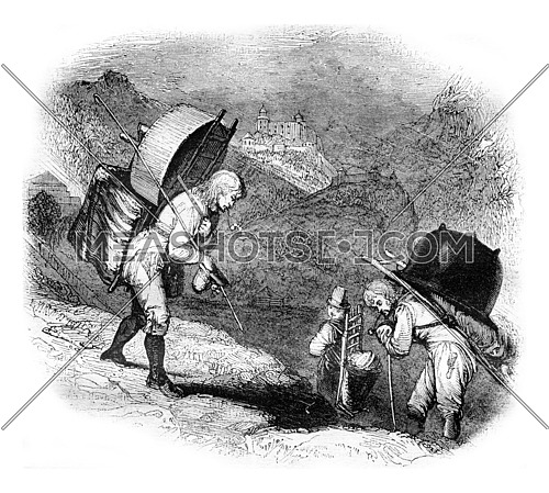 Alpine peasants returning to the village, Sketch after kind, vintage engraved illustration. Magasin Pittoresque 1836.