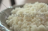 white rice in a plate rotating
