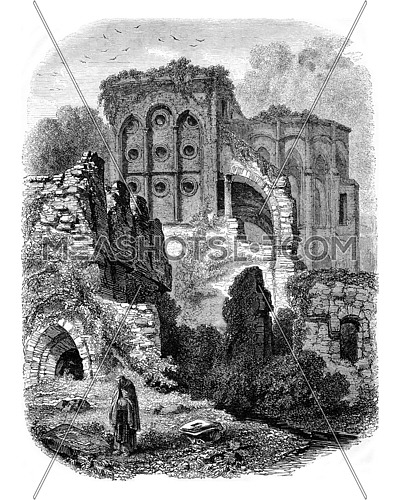 View of the ruins of the Abbey of Villers, vintage engraved illustration. Magasin Pittoresque 1853.