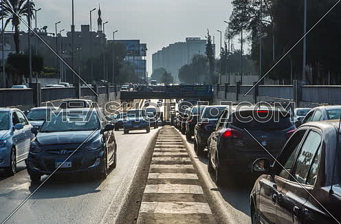 Zoom OUT Shot for traffic from outside  Al Orouba Tunnel at Daytime