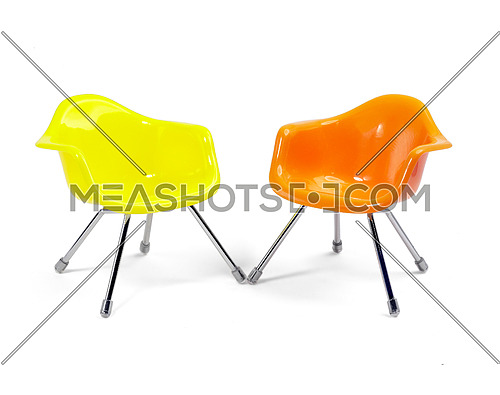 coulored plastic chairs isolated on white background