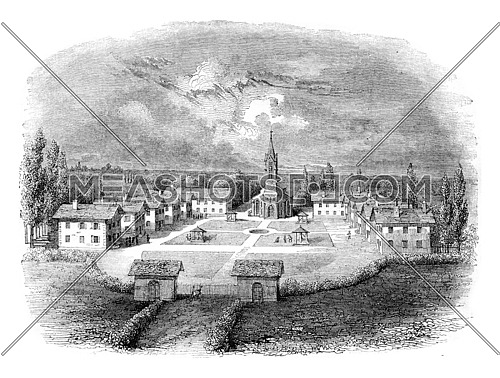 View of the Mettray colony, founded in 1840, has a myriametre of the city of Tours, vintage engraved illustration. Magasin Pittoresque 1842.