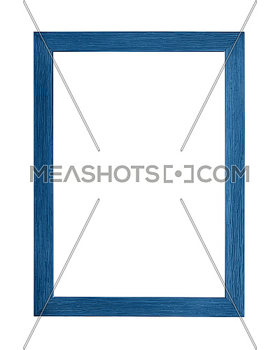 Modern navy dark blue color painted rectangular vertical frame for picture or photo, isolated on white background