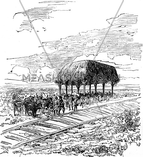 Travel M. de Lesseps. First station of the railway between Savanilla and Barranquilla (Colombia), vintage engraved illustration. Journal des Voyages, Travel Journal, (1879-80).