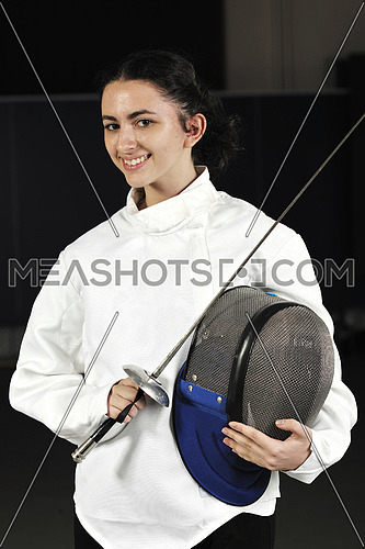 sword sport young  athlete portrait at training